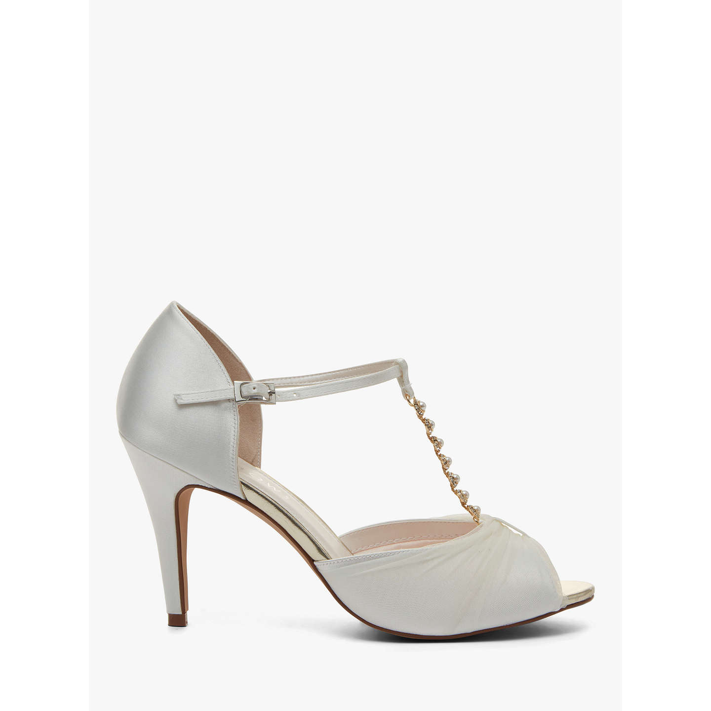 BuyRainbow Club Adrianna Satin and Tulle Stiletto Heel Sandals, Ivory, 3 Online at johnlewis.com