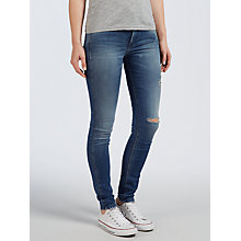 Buy Calvin Klein High Rise Sculpted Skinny Jeans, Cerulean Destructed Online at johnlewis.com
