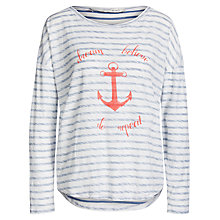 Buy Oui Anchor Stripe T-Shirt, White/Blue Online at johnlewis.com
