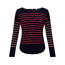 Buy Cocoa Cashmere Curved Hem Stripe Cashmere Jumper, Navy Online at johnlewis.com