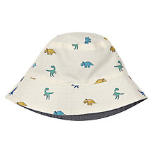 Buy John Lewis Baby Reversible Chambray Dinosaur Hat, Off-White/Multi Online at johnlewis.com