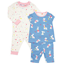 Buy John Lewis Baby Bunny Stars Pyjamas, Pack of 2, Blue/Pink Online at johnlewis.com