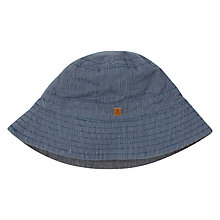 Buy John Lewis Baby Textured Cotton Hat, Navy Online at johnlewis.com