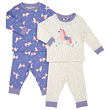 Buy John Lewis Baby Pony Print Pyjamas, Pack of 2, Purple/Cream Online at johnlewis.com