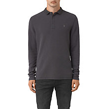 Buy AllSaints Clash Long Sleeve Polo Shirt, Washed Black Online at johnlewis.com