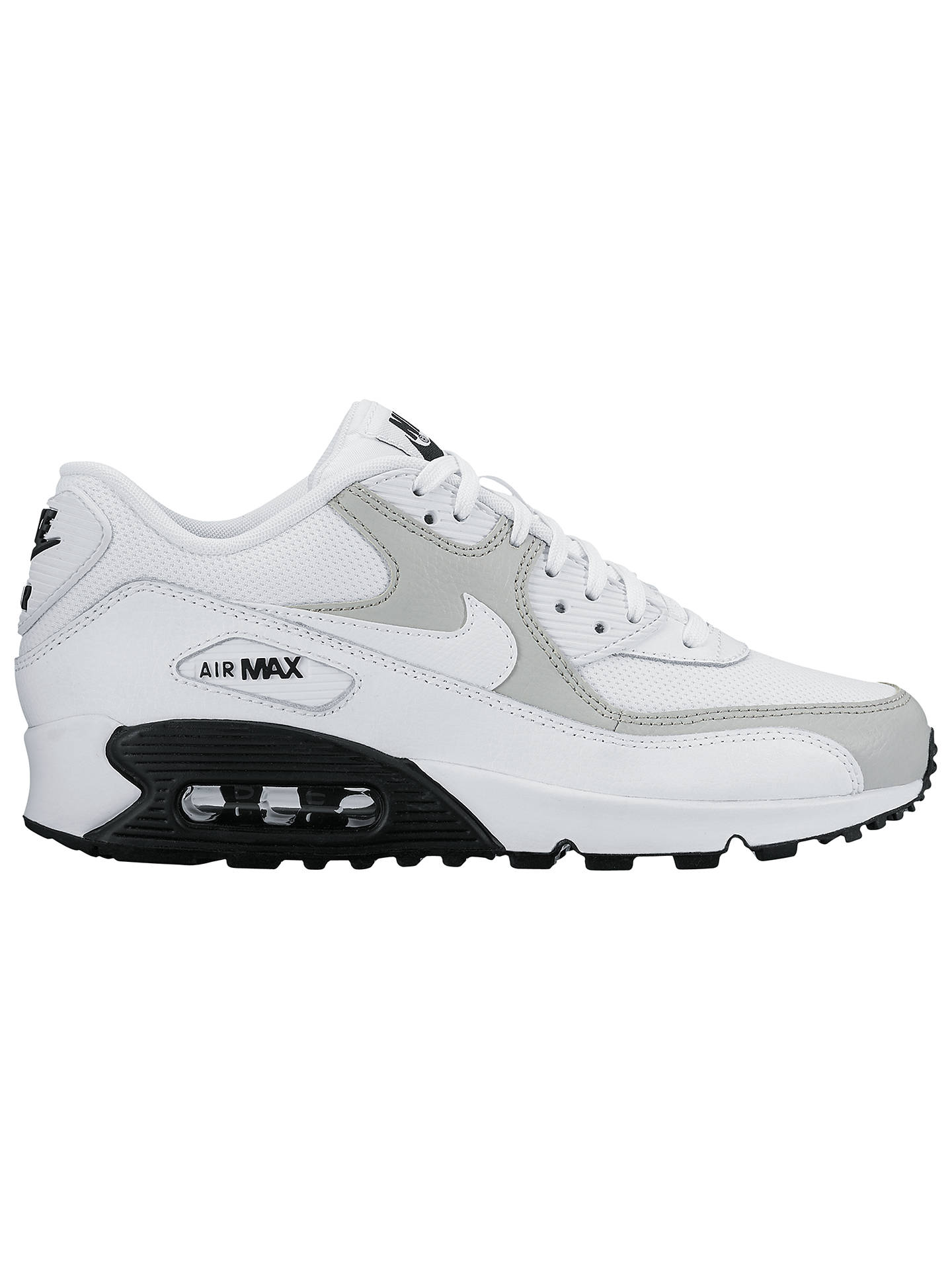 wholesale dealer 5650c e72ec Nike Air Max 90 Women's Trainers, White/Wolf Grey at John ...