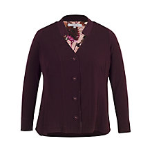 Buy Chesca Notch Neckline Jersey Cardigan, Aubergine Online at johnlewis.com