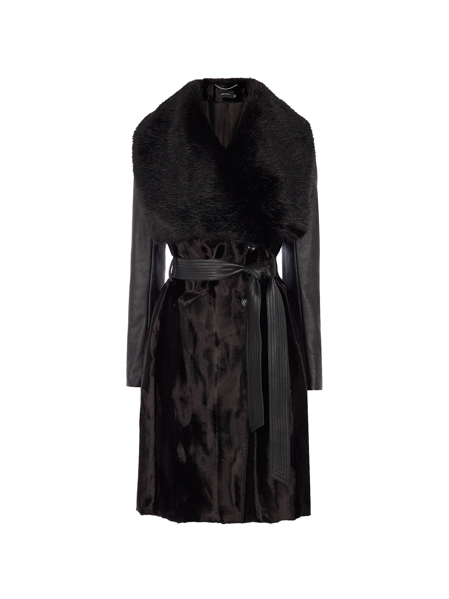 unique design outlet sale yet not vulgar Karen Millen Signature Investment Coat, Black at John Lewis ...