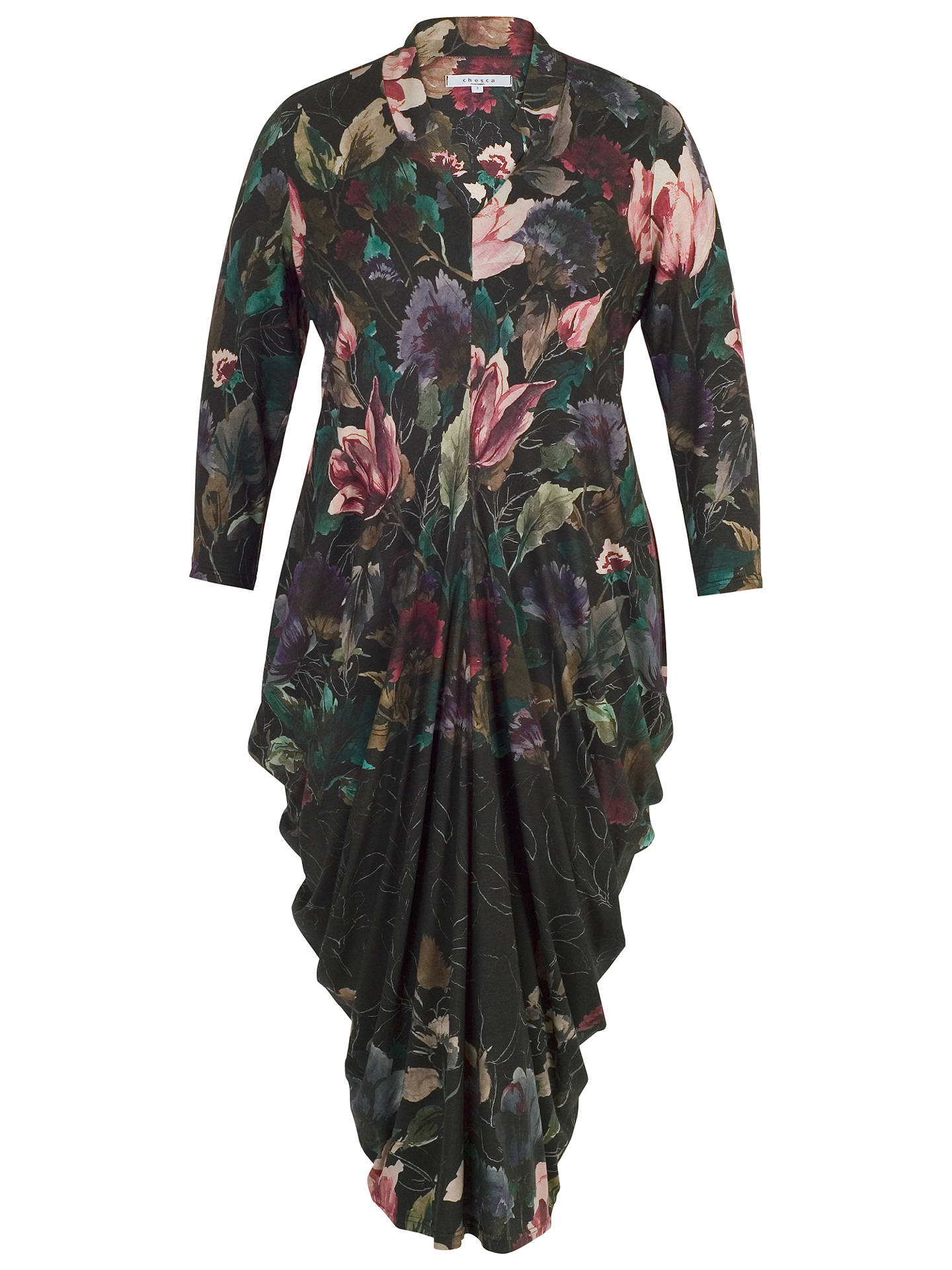 Buy Chesca Floral Border Print Jersey Dress, Black/Multi, 12-14 Online at johnlewis.com