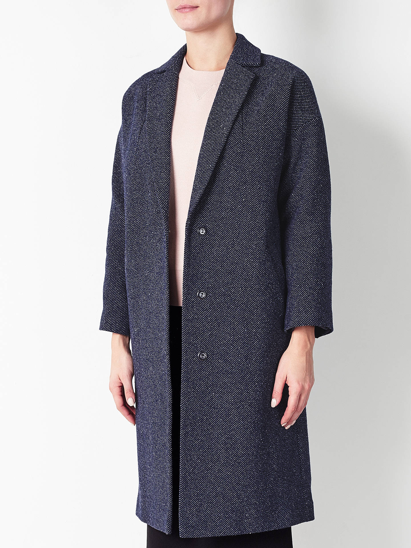Mint Velvet Textured Cocoon Coat Rose
