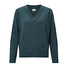 Buy Kin by John Lewis Reverse V-Neck Jumper, Teal Online at johnlewis.com