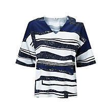 Buy Kin by John Lewis V-Neck Oversized Print T-Shirt, Blue Online at johnlewis.com