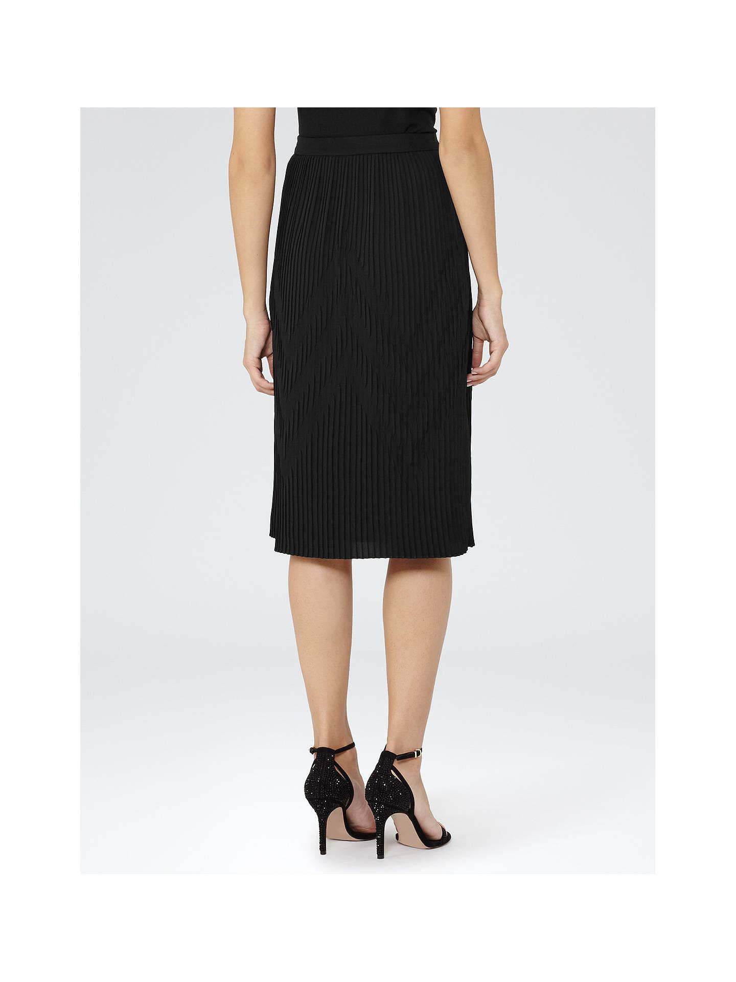 4b879536e ... Buy Reiss Trudy Plisse Midi Skirt, Black, 6 Online at johnlewis.com ...