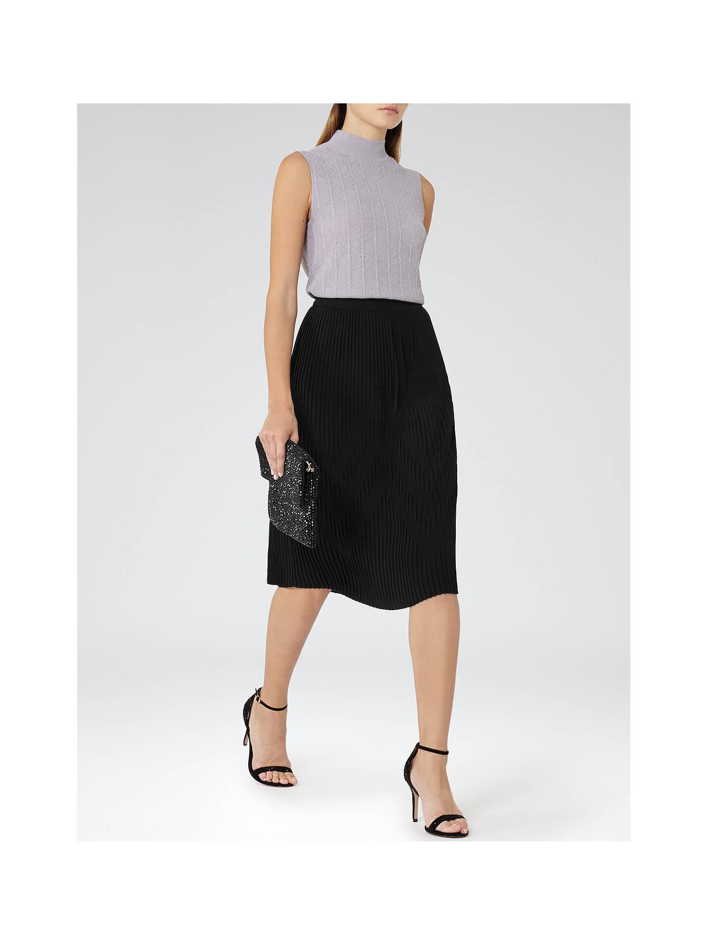 6b1253475 ... Buy Reiss Trudy Plisse Midi Skirt, Black, 6 Online at johnlewis.com