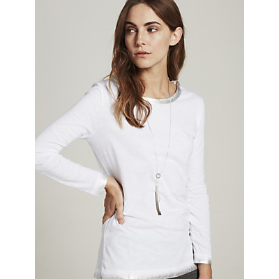 Hygge by Mint Velvet Foil Trim Long Sleeve T-Shirt, Ivory