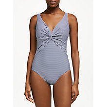 Buy John Lewis Twist Front Stripe Control Swimsuit, Blue Online at johnlewis.com