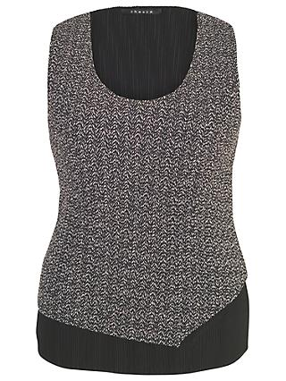 Chesca Herringbone Print Top, Black/Cream