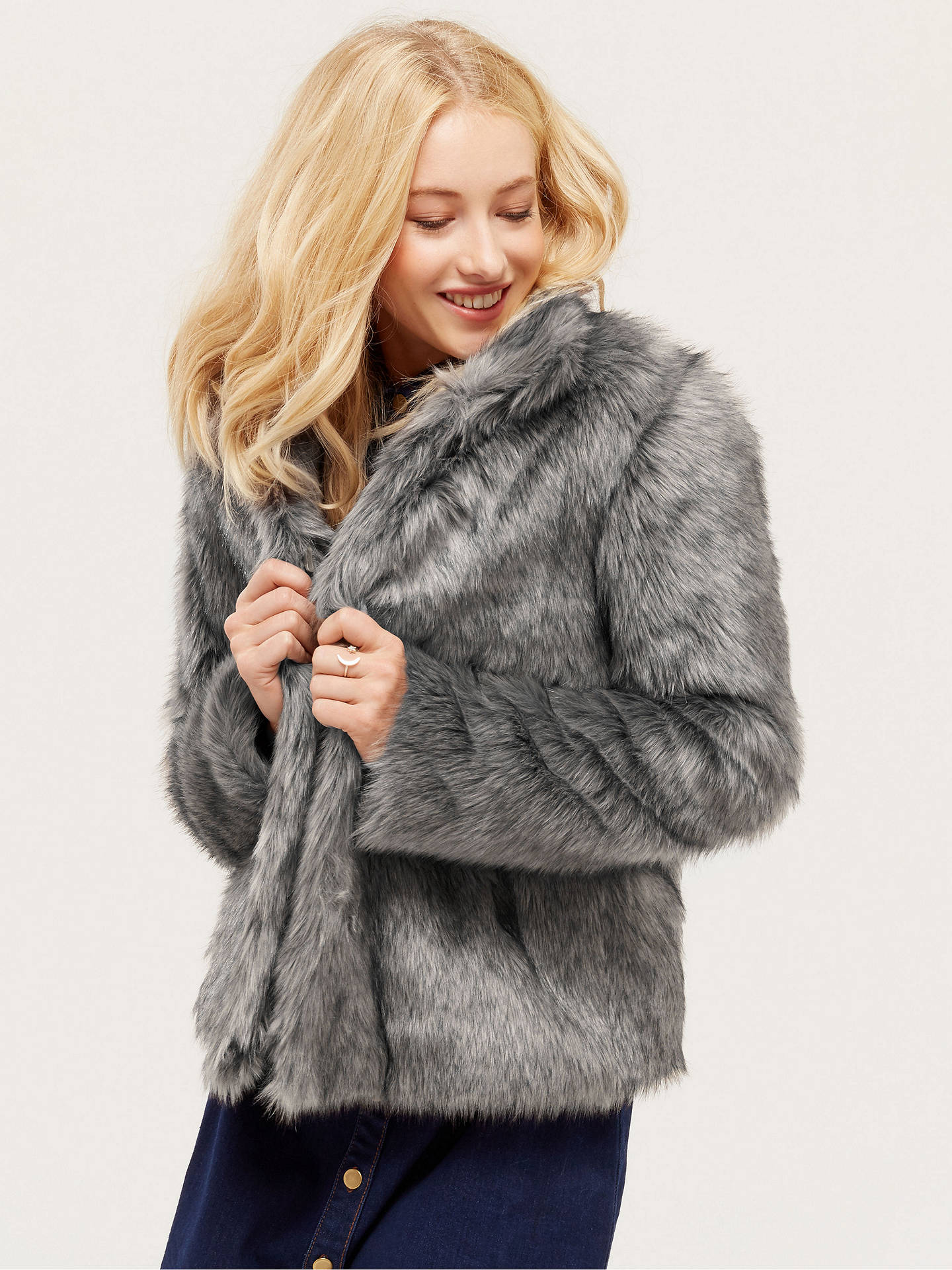 01bb7391b783 Buy Oasis Tilly Boxy Faux Fur Coat, Mid Grey, XS Online at johnlewis.