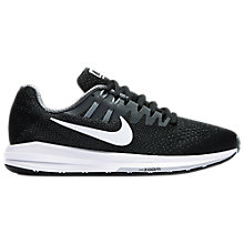 Buy Nike Air Zoom Structured 20 Women's Running Shoes, Black/White/Grey Online at johnlewis.com