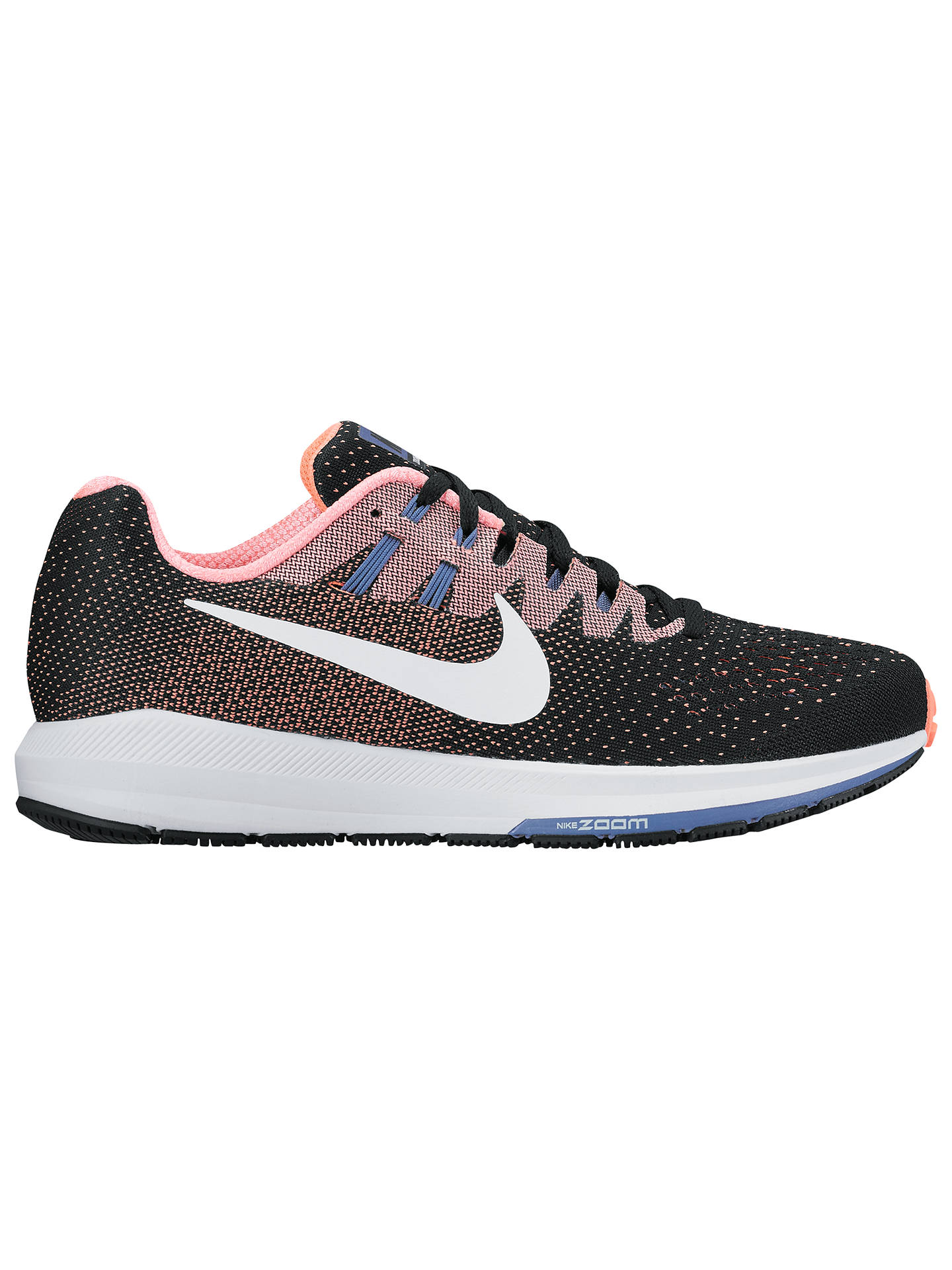 Buy Nike Air Zoom Structured 20 Women's Running Shoes, Black/White/Lava Glow, 4 Online at johnlewis.com