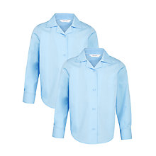 Buy John Lewis Girls' Open Neck School Blouse, Blue Online at johnlewis.com
