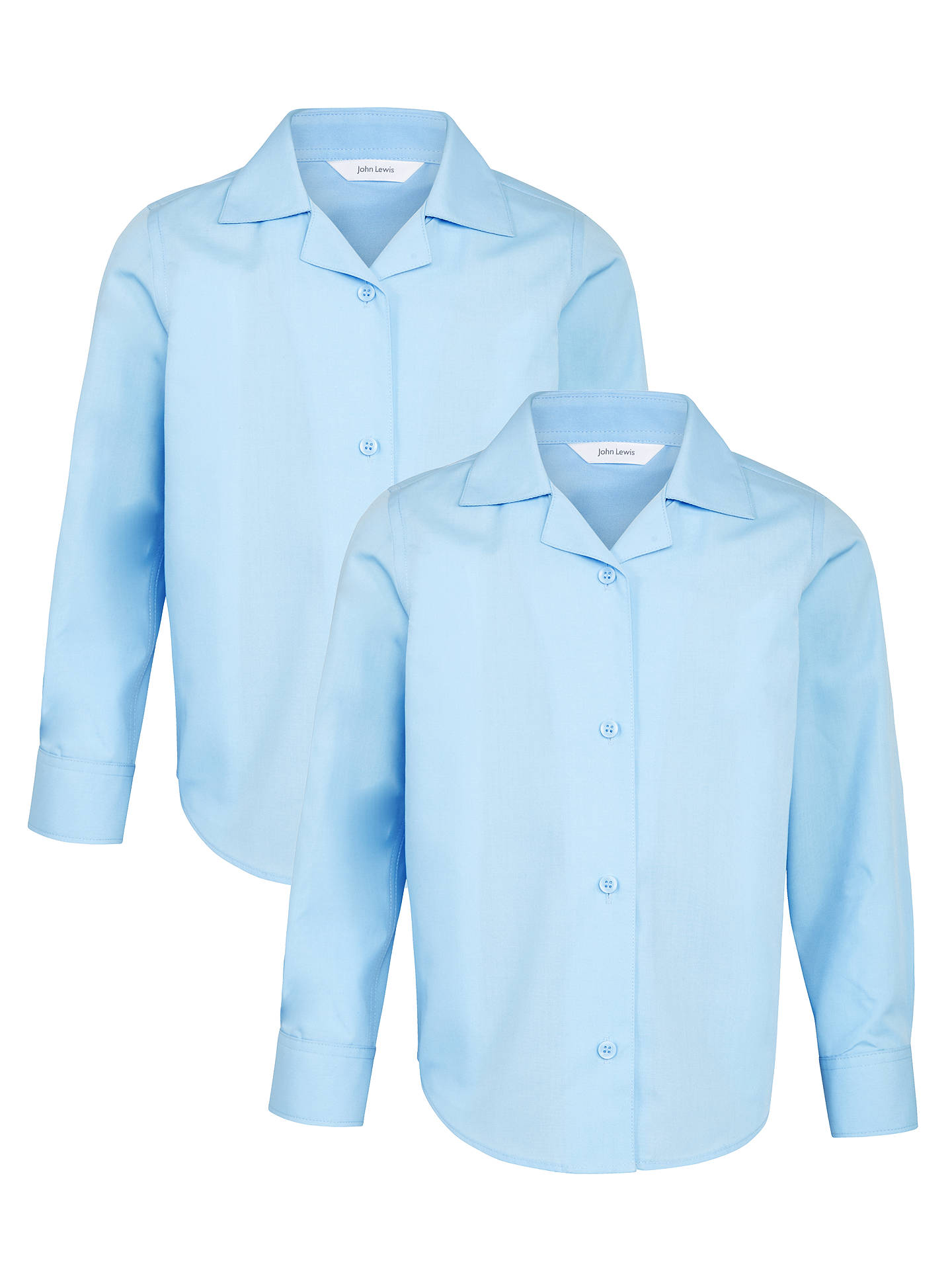 BuyJohn Lewis & Partners Girls' Open Neck School Blouse, Pack of 2, Blue, 4 years Online at johnlewis.com
