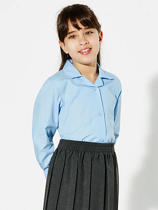 Buy John Lewis & Partners Girls' Open Neck School Blouse, Pack of 2, Blue, 4 years Online at johnlewis.com
