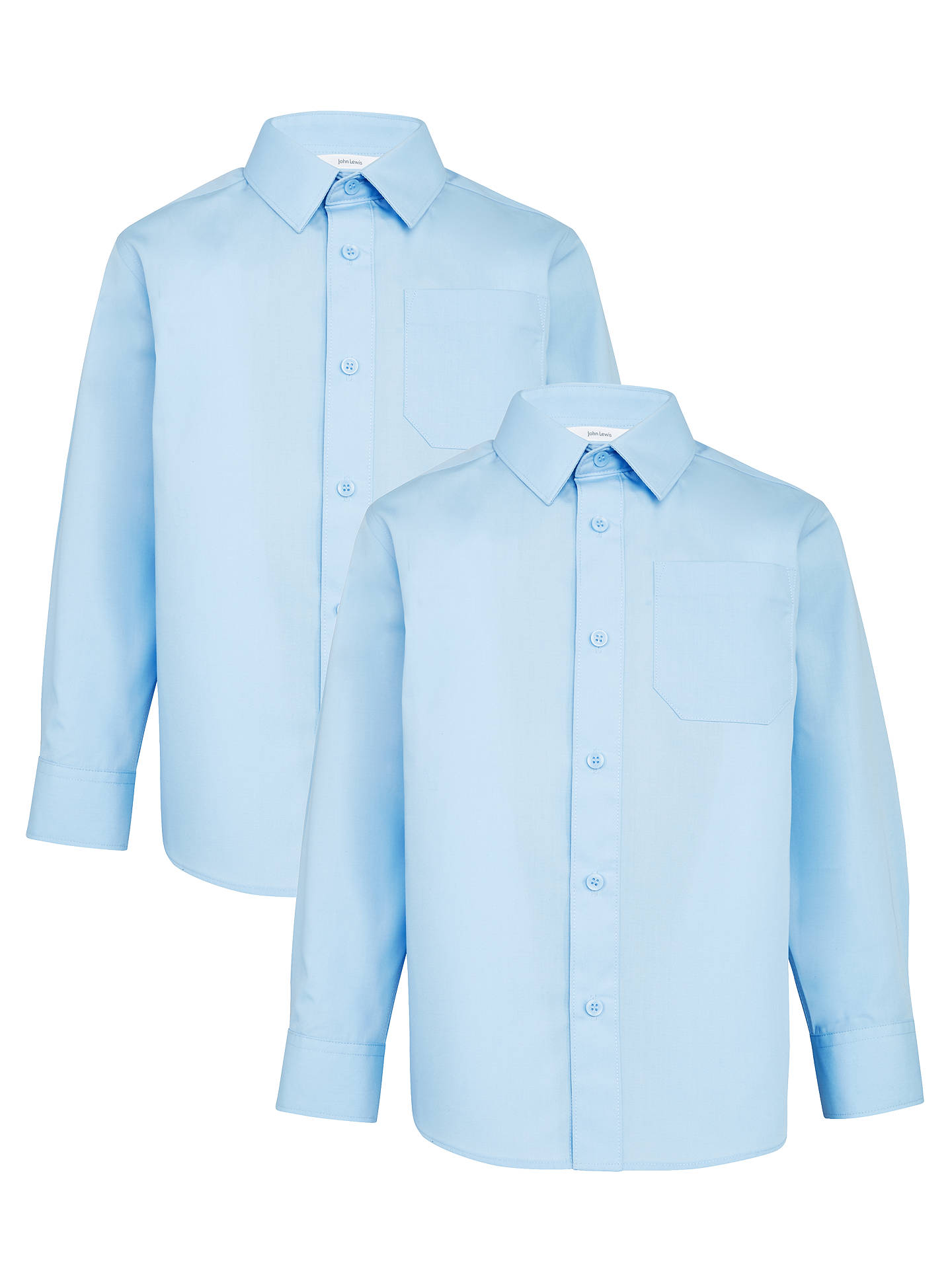 John Lewis Boys Easy Care Long Sleeve School Shirt  Pack of 2 Blue Aged 3-12