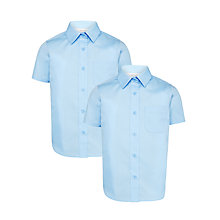 Buy John Lewis Girls' Short Sleeve School Blouse, Blue Online at johnlewis.com