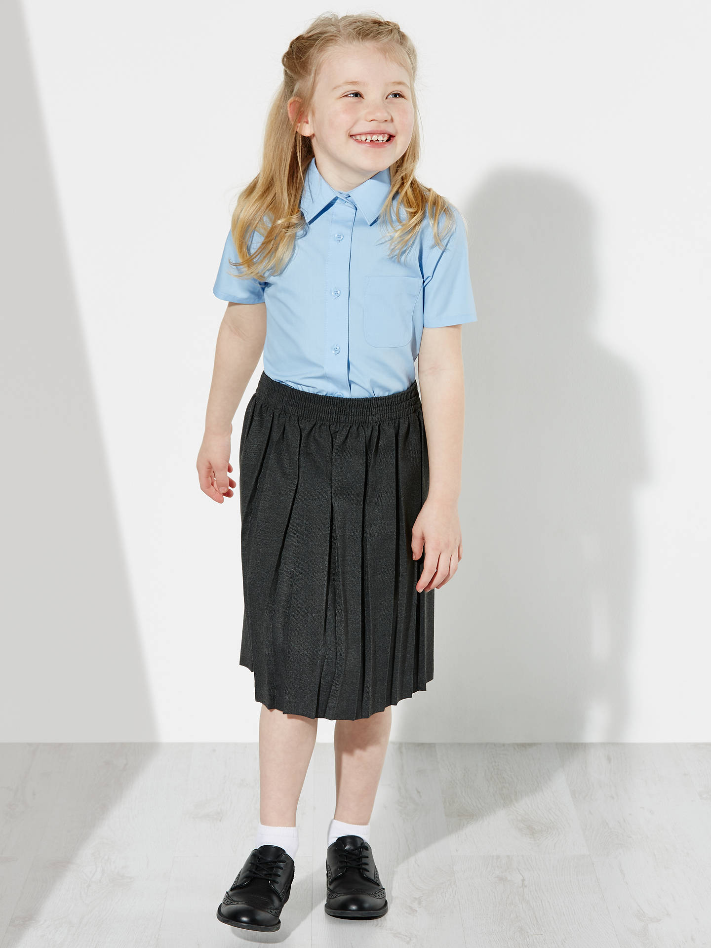 Buy John Lewis & Partners Girls' Short Sleeve School Blouse, Pack of 2, Blue, 4 years Online at johnlewis.com
