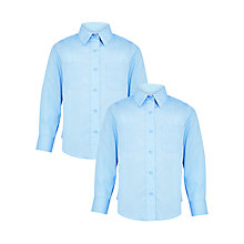 Buy John Lewis Girls' Long Sleeve School Blouse, Blue Online at johnlewis.com