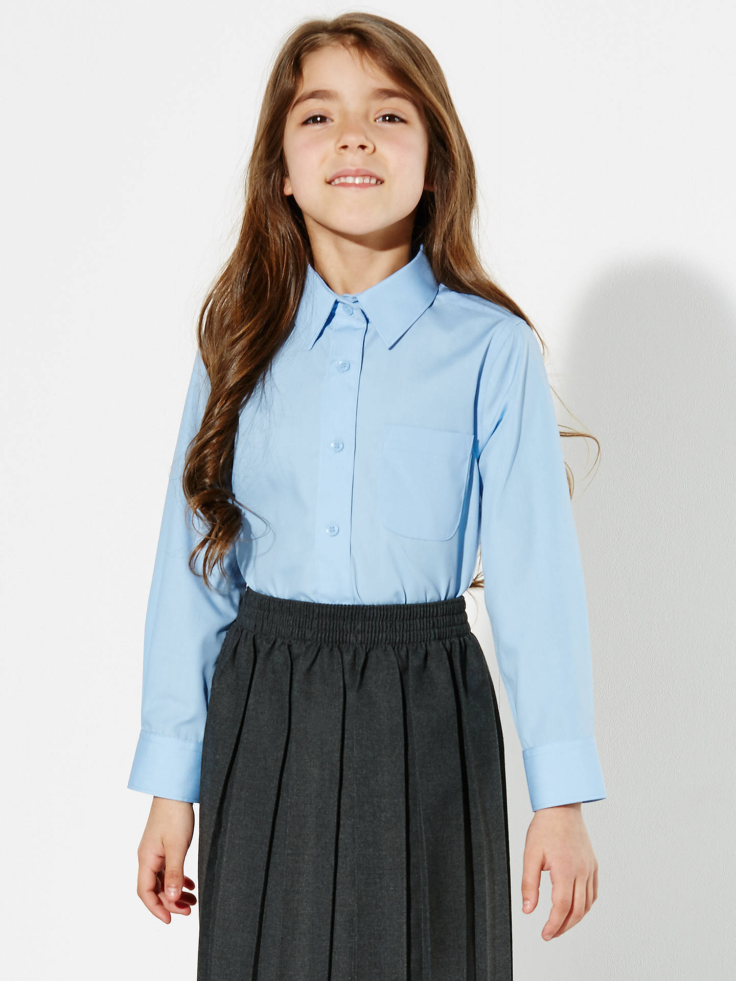 44079bf34 Buy John Lewis & Partners Girls' Long Sleeve School Blouse, Pack of 2, ...