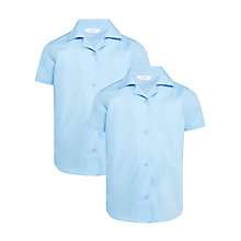 Buy John Lewis Girls' Short Sleeve School Blouse, Pack of 2, Blue Online at johnlewis.com