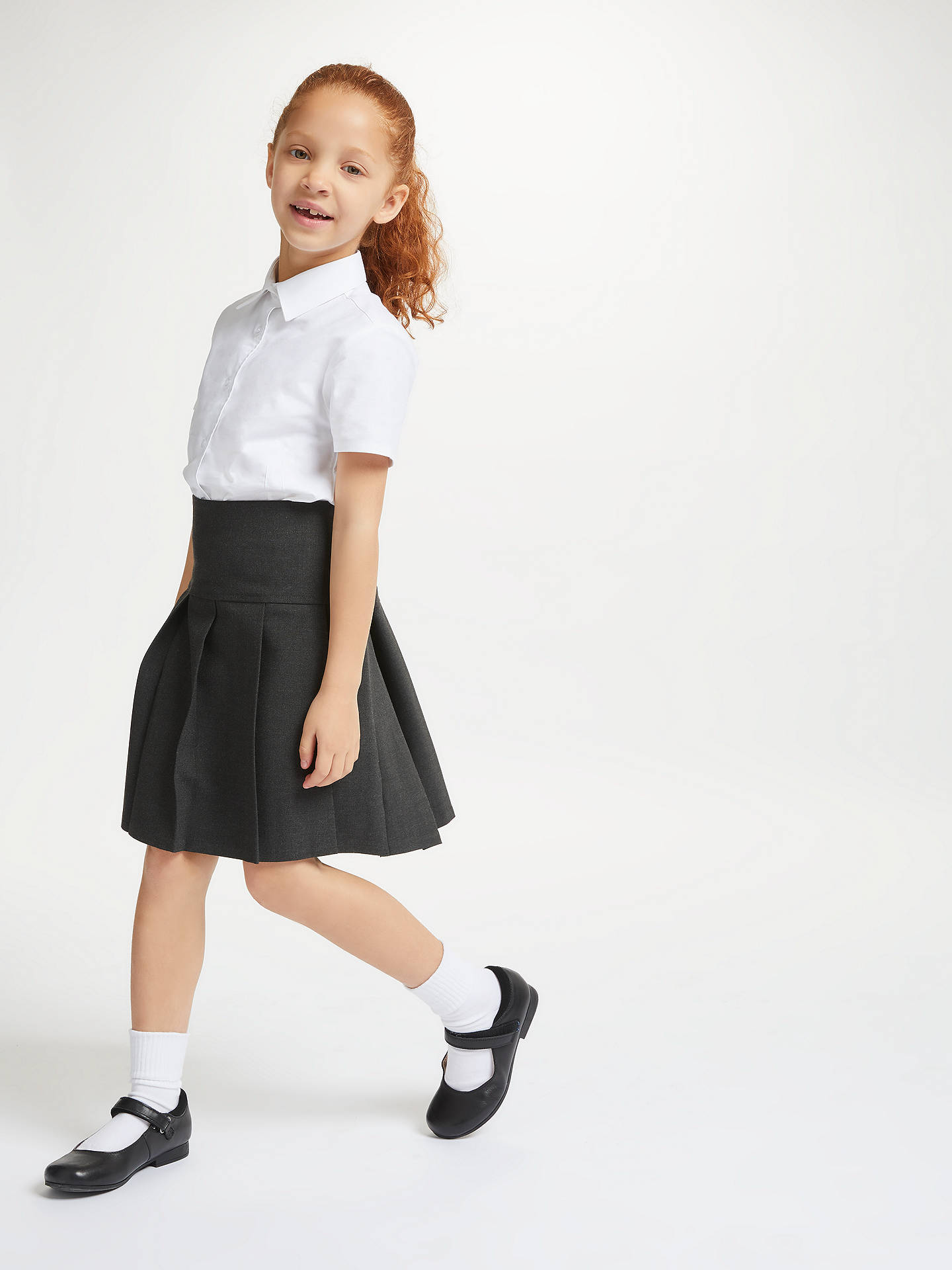 Buy John Lewis & Partners Girls' Generous Fit Adjustable Waist Pleated School Skirt, Grey, 4 years Online at johnlewis.com