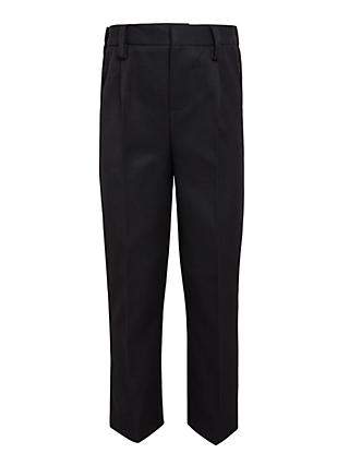John Lewis & Partners Boys' Easy Care Adjustable Waist Slim Fit School Trousers, Longer Length