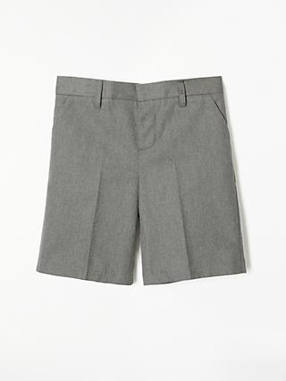 John Lewis & Partners Boys' Adjustable Waist Cotton School Shorts, Grey