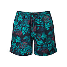 Buy John Lewis Palm Leaves Print Swim Shorts, Navy Online at johnlewis.com