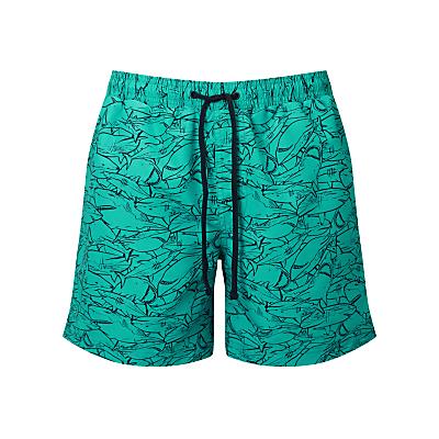 John Lewis Shark Print Swim Shorts, Turquoise
