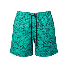 Buy John Lewis Shark Print Swim Shorts, Turquoise Online at johnlewis.com