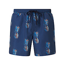 Buy John Lewis Pineapple Print Swim Shorts, Navy Online at johnlewis.com