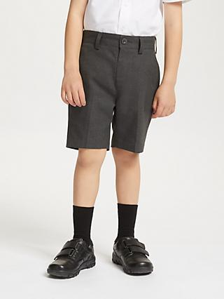 John Lewis & Partners Boys' Easy Care Adjustable Waist Slim Leg School Shorts, Grey