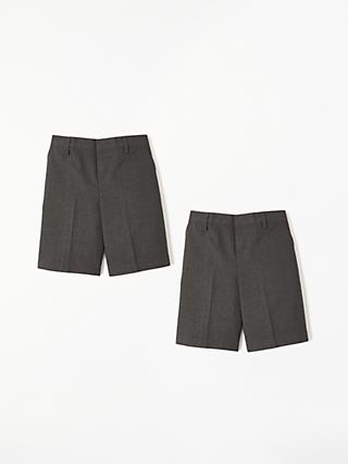 John Lewis & Partners Boys' The Basics Adjustable Waist School Shorts, Pack of 2, Grey