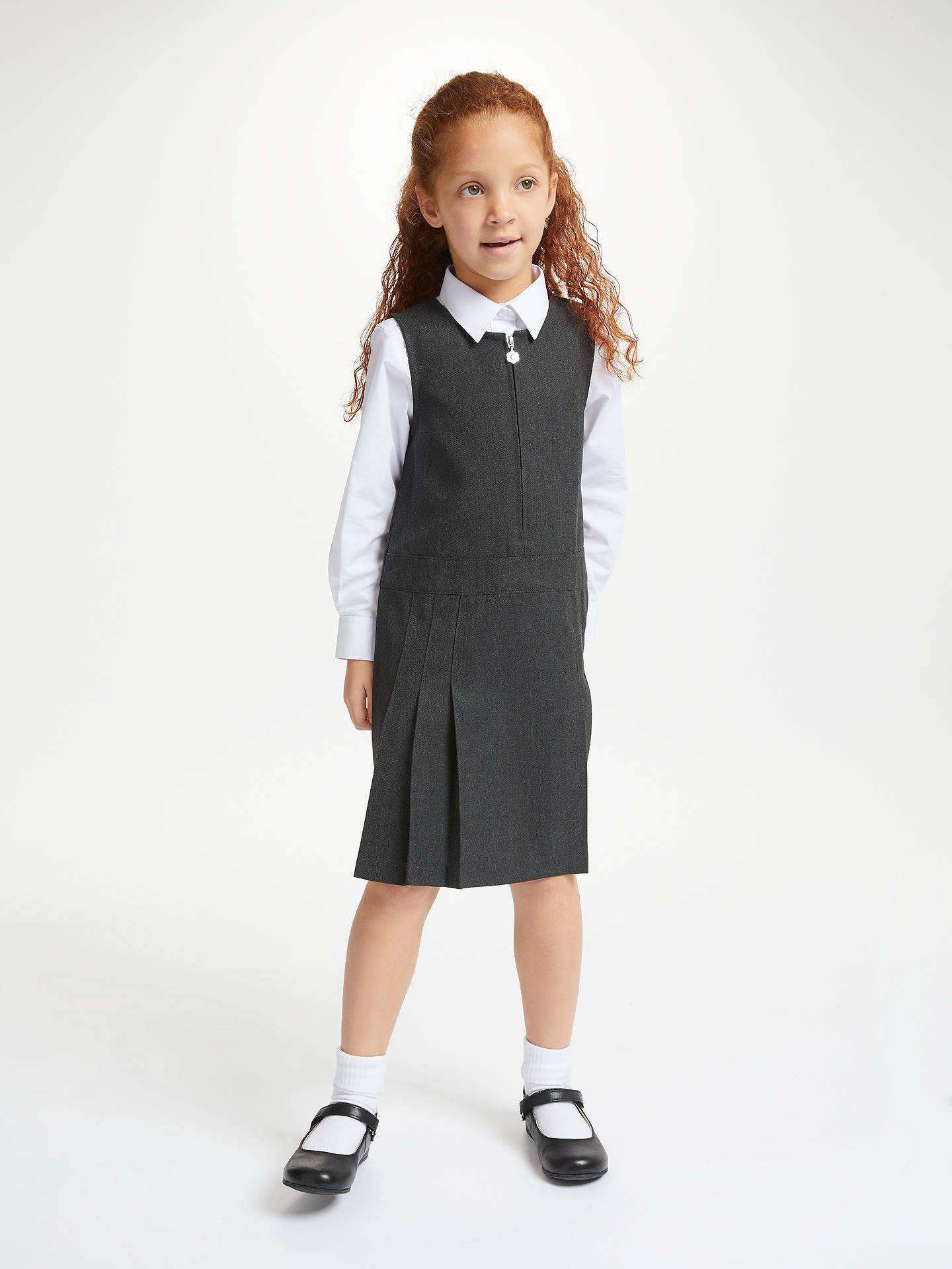 Buy John Lewis & Partners Girls' Zip Front School Tunic, Grey, 13 years Online at johnlewis.com