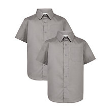 Buy John Lewis Boys' Short Sleeve School Shirt, Pack of 2, Grey Online at johnlewis.com
