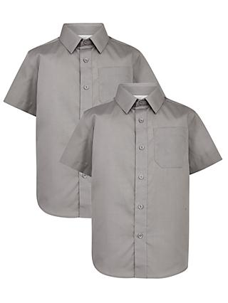 John Lewis & Partners Boys' Easy Care Short Sleeve School Shirt, Pack of 2, Grey