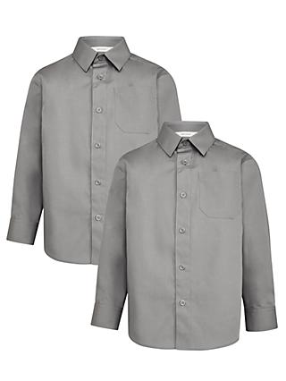 John Lewis & Partners Boys' Easy Care Long Sleeve School Shirt, Pack of 2, Grey