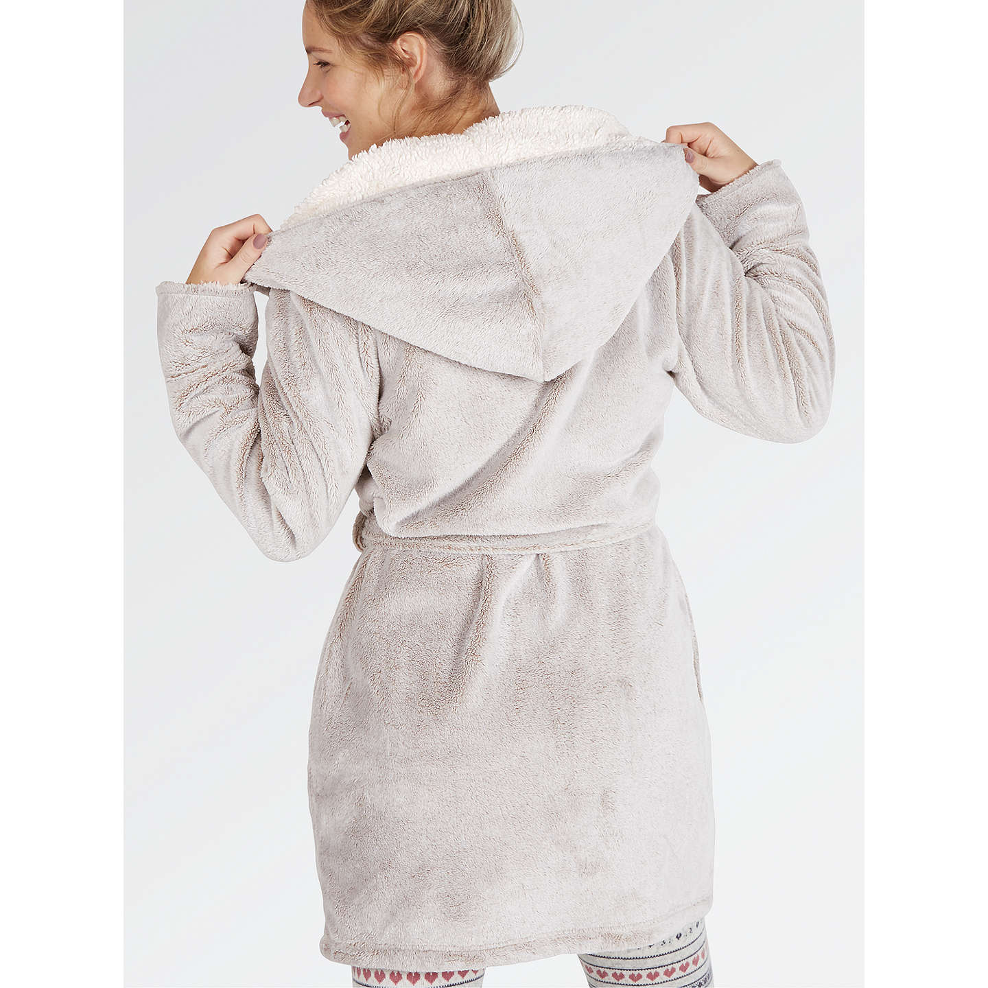 Fat Face Frosted Dressing Gown, Mocha at John Lewis