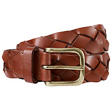 Buy AND/OR Clare Wide Plaited Jeans Belt, Chocolate Online at johnlewis.com