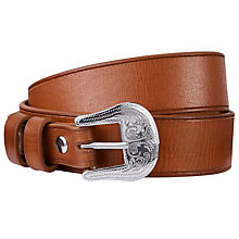 Buy John Lewis Tasha Metal Heart Leather Jeans Belt, Tan Online at johnlewis.com