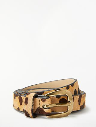 John Lewis & Partners Sarah Smart Daytime Leather Belt, Leopard